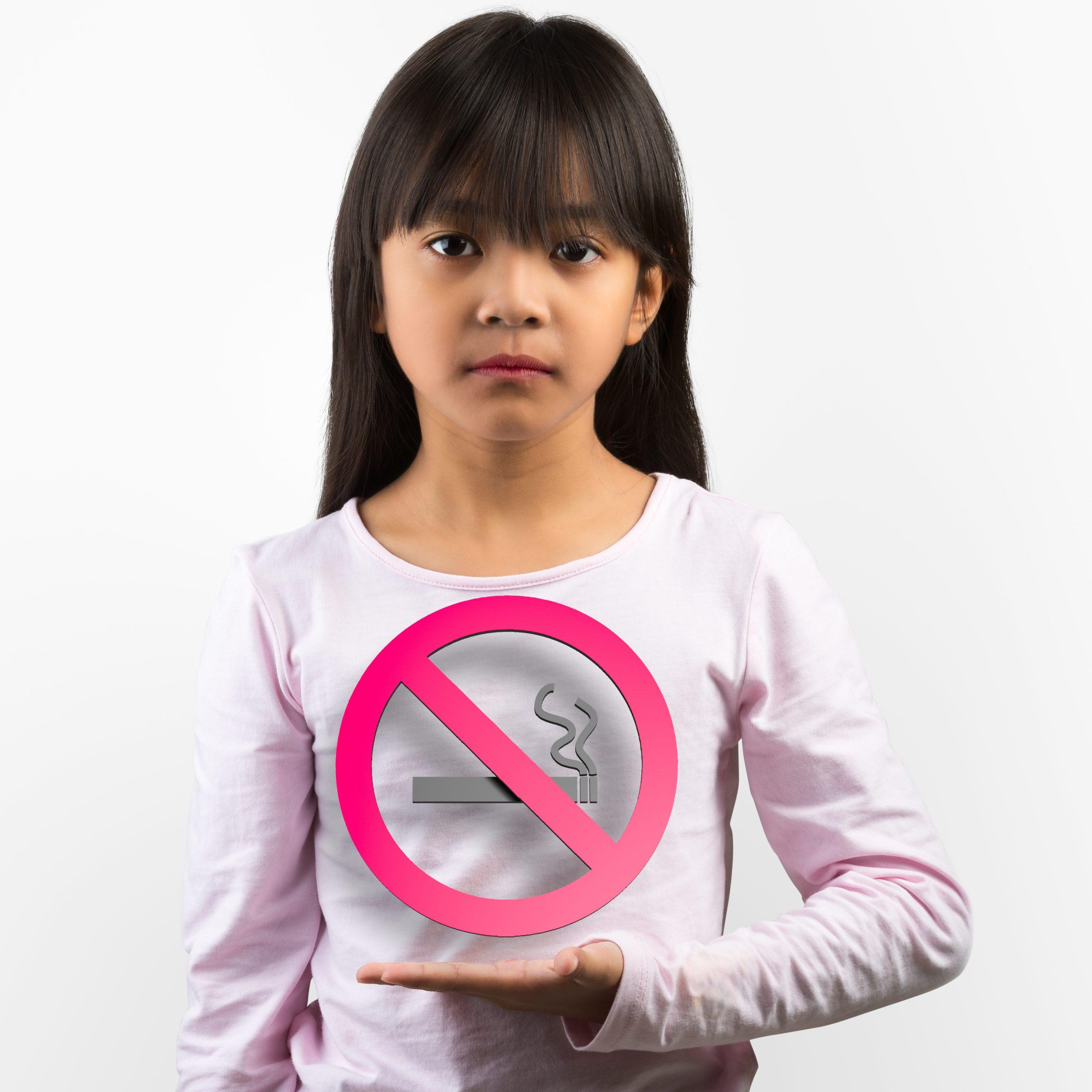 Kind met stopen met roken bord
