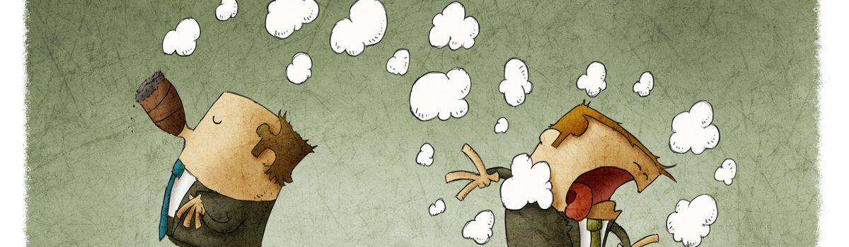 Illustratie van man die aan het roken is en andere man die hierdoor een astma-aanval krijgt