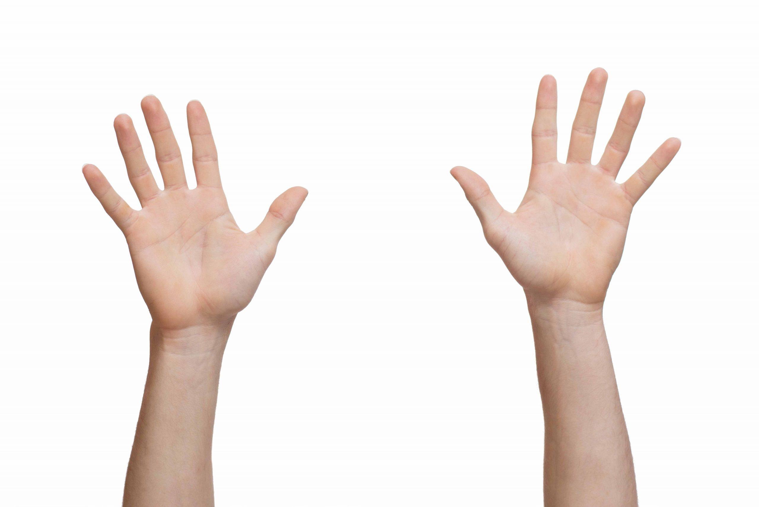 Twee handen die getal 10 aanduiden