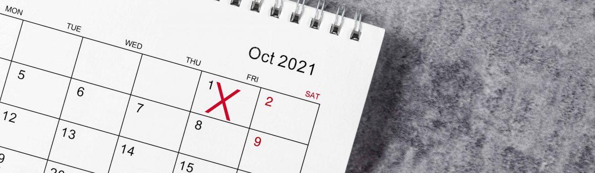Kalender waarop begin Stoptober is aangekruist